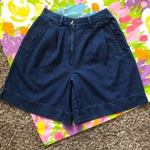 VTG PLEATED DARK WASH 90s HIGH WAISTED SHORTS